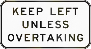 Australian regulatory sign - End keep left unless overtaking