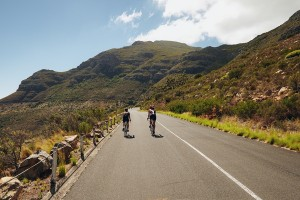 Cyclists On Open Country Road